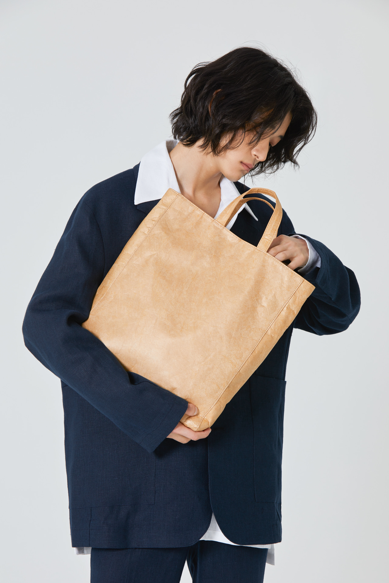 Paper Leather Cross-Tote Bag_Beige